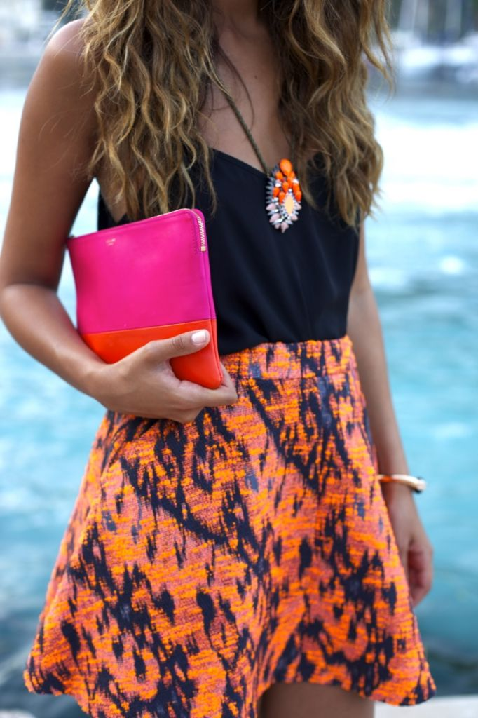 love this bright popping skirt with black