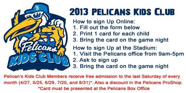 Pelican's Kids' Club- get in free last Saturday every month