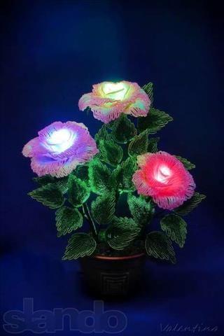Фото из объявления - Александр: Светильник : Роза из бисера с подсветкой продажа-куплю или услуги