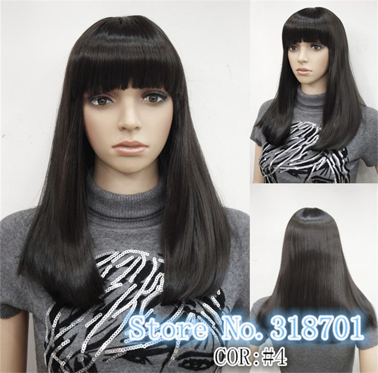 New sexy ladies Long Straight Black wig Natural Hair wigs free shipping
