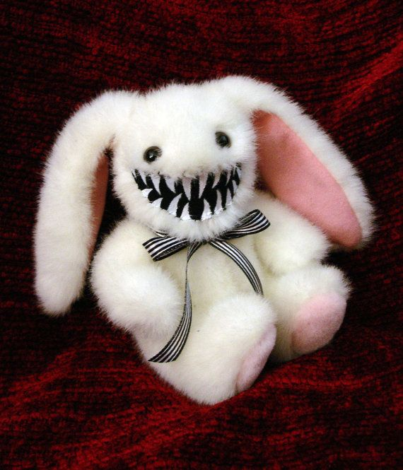 This monstrously adorable Mini Bunny Rabbit monster is one of my latest creations, and would just love to come home with you! Bunny monster is
