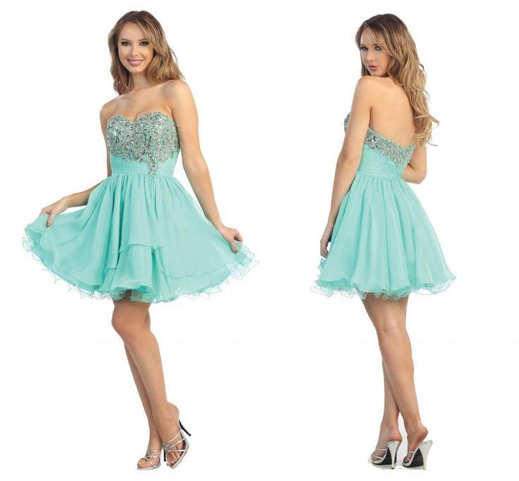 2014 Sweetheart Beads Sequin Graduation Dresses Short Charming Chiffon Homecoming Cocktail Gowns Cheap Summer Beach Prom Dress