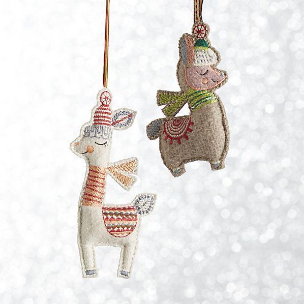 Stitched llama ornaments crate and barrel christmas for Crate and barrel peru