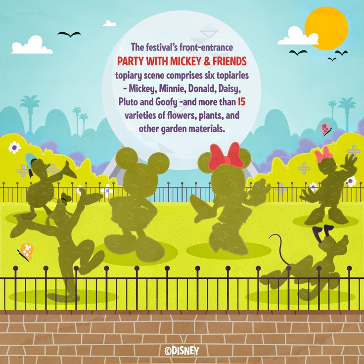 Party with Mickey and Minnie at the main entrance to the Epcot Flower and Garden Festival. http://di.sn/gAL