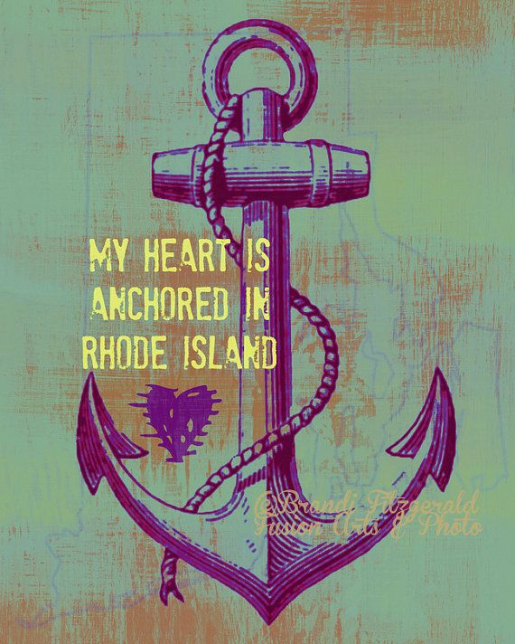Heart Anchored in Rhode Island Nautical Beach House Decor Choose Lustre Print, Canvas or Bamboo Mount