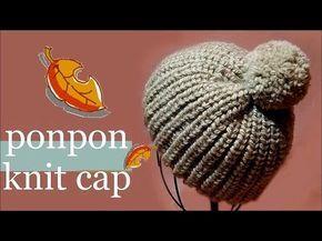 イギリスゴム編みのポンポン付きニット帽の編み方 / How to Knitting * Fisherman's Rib ponpon knit cap * - YouTube