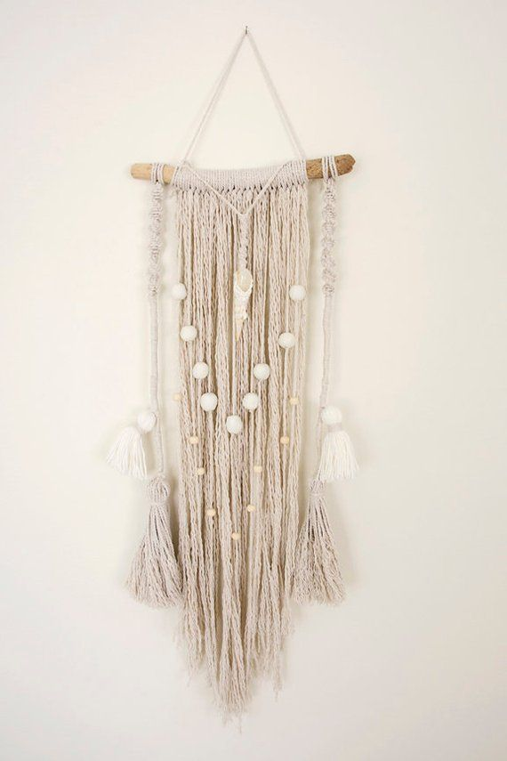 Small Macrame Wall Hanging With Shell And Moonstone Pendant Macrame Wall Hanging Wall Hanging Clay Beads