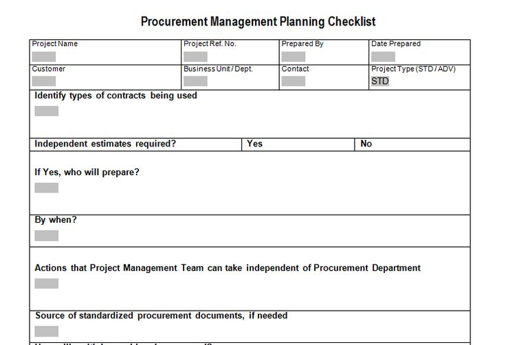 Procurement Management Planning Checklist Download For Sample Project Plan  Document