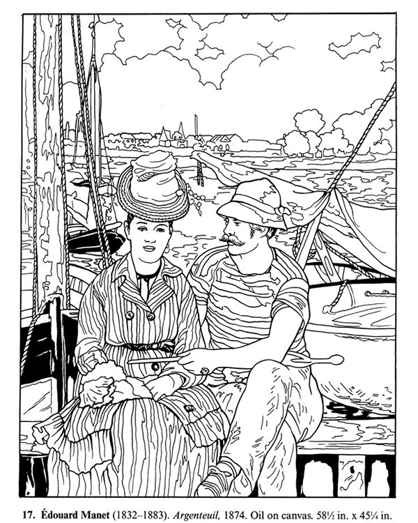 More impressionist painting coloring pages. Free sample ...