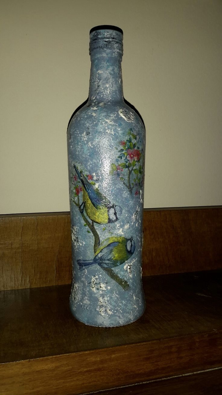 Bottle , decoupage