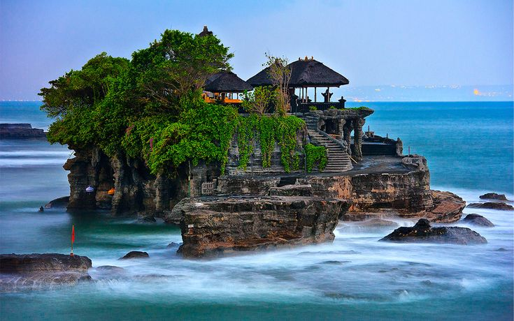 Tanah Lot at high tide. The temple is located in the sea so it is only accessible during low tide.