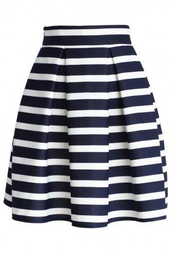 Navy Stripes Pleated Tulip Skirt