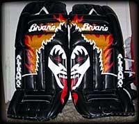 Gene Simmons #kiss on 90's Brian's goalie pads #brians #goalie #goaliesonly #icehockey