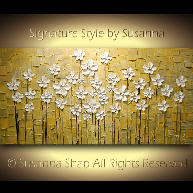 ORIGINAL Large Impasto Landscape Abstract Yellow Grey White Flowers Oil Painting Modern Palette Knife Art by Susanna 48x24