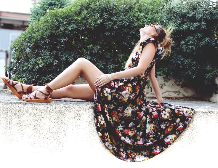 garden kimono dress & handmade leather sandals (36-41).  madymay.gr