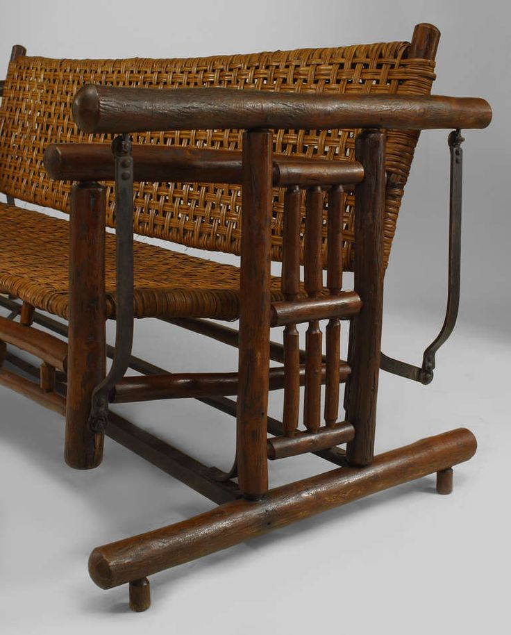 20th Century American Rustic Porch Glider Settee By Old Hickory Co Settees Rustic Porches And