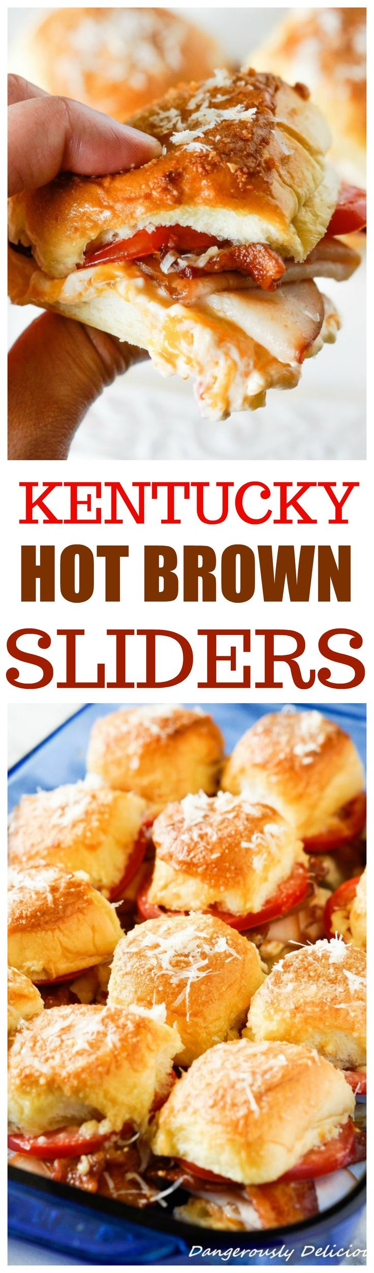 Thank you Crystal from Dangerously Delicious for sharing these Kentucky Hot Brown Sliders! Kentucky Hot Brown Sliders, a famous open-faced sandwich served at the Brown Hotel in Kentucky has now been t