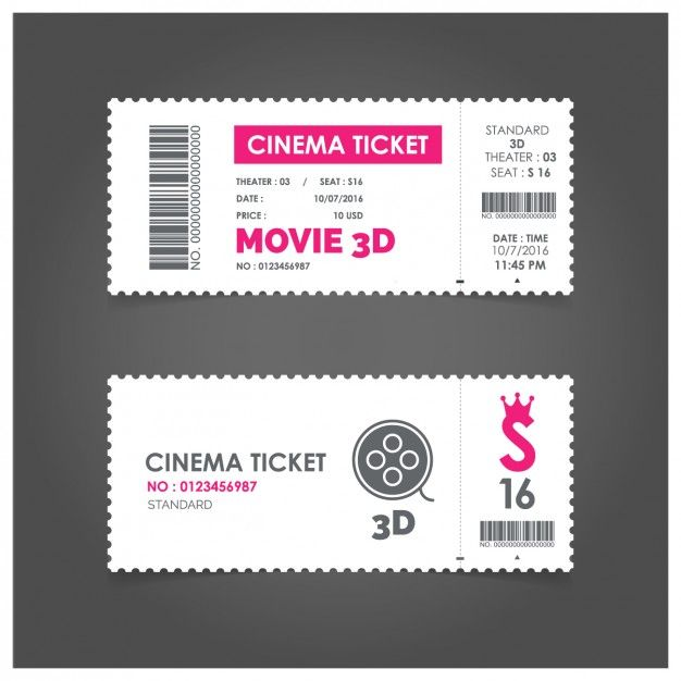 Cinema ticket with pink details Free Vector