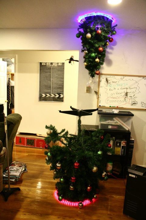 Christmas tree falling through a portal