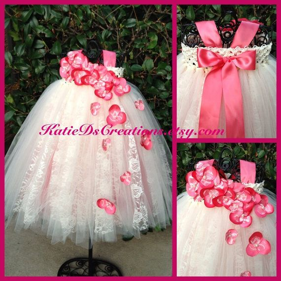 Coral and Ivory Lace Flower Girl Tutu Dress by KatieDscreations, $100.00