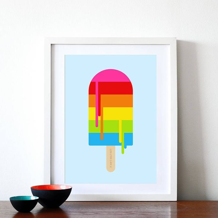 I've just found Rainbow Ice Lolly Print. Remind yourself of those long hot Summer days with this colourful rainbow ice lolly print. £20.00