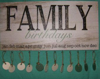 Rustic Family Birthdays Plaque by EaselyInspired on Etsy