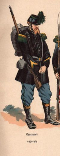 """Cacciatore (Italian for hunter). Light Infantry as opposed to line infantry. [Faction: """"Papal States"""" (information and images)]"""