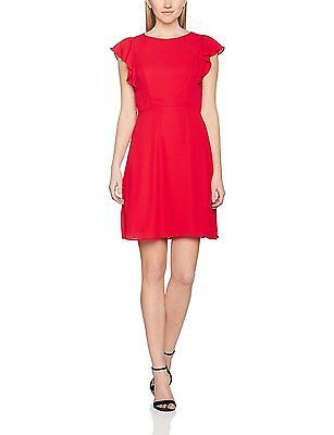 14, Red (Dark Red), Dorothy Perkins Women's Plain Flutter Sleeve Dress NEW