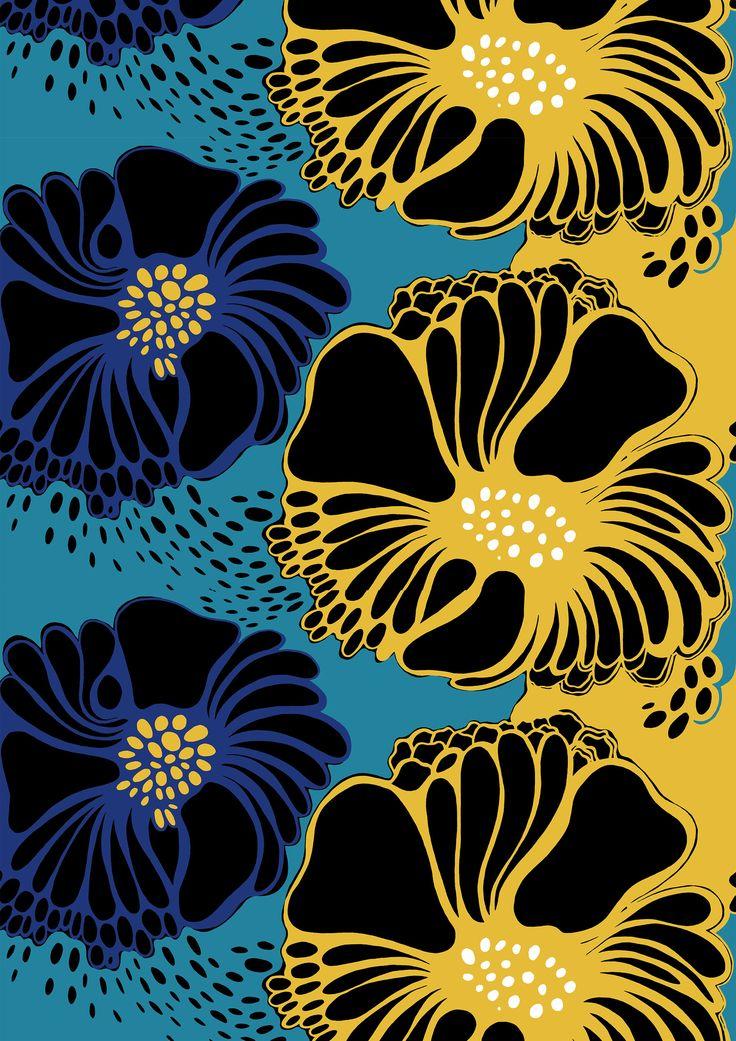 Valmu, blue yellow by Marjatta Metsovaara