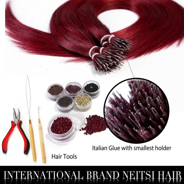 "Neitsi 20"" 1g/s 50g 100g 530# Micro Bead Nano Ring Human Hair Extensions 100%Raw Indian Virgin Remy Hair Straight Soft And Thick"