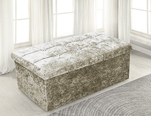 Large 2 Seater Luxury Crushed Velvet Fabric with Diamantes Foldaway Ottoman Stool Blanket Box Bench 76cms x 38cms---29.95---