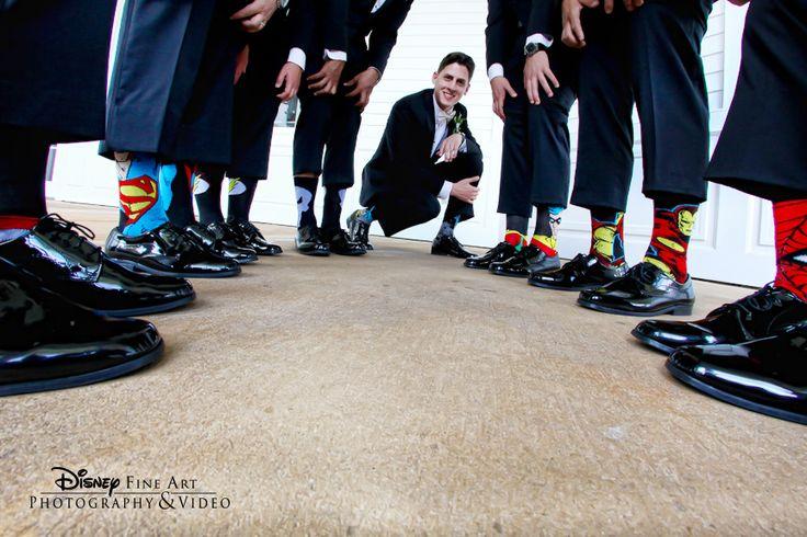 Playful superhero socks never fail to make us smile #Disney #wedding #superhero #socks #groomsmen