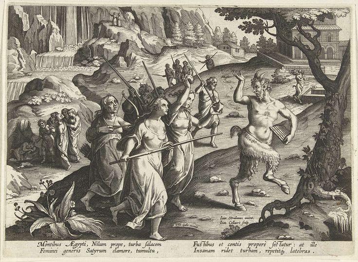 Jan Collaert (II) | Vrouwen verjagen een sater, Jan Collaert (II), Philips Galle, Cornelis Kiliaan, 1594 - 1598 | Een slapende sater wordt in een grot door dorpelingen gevonden. De vrouwen jagen het boswezen met wapens weg. De prent heeft een Latijns onderschrift en is deel van een serie over jachttaferelen.