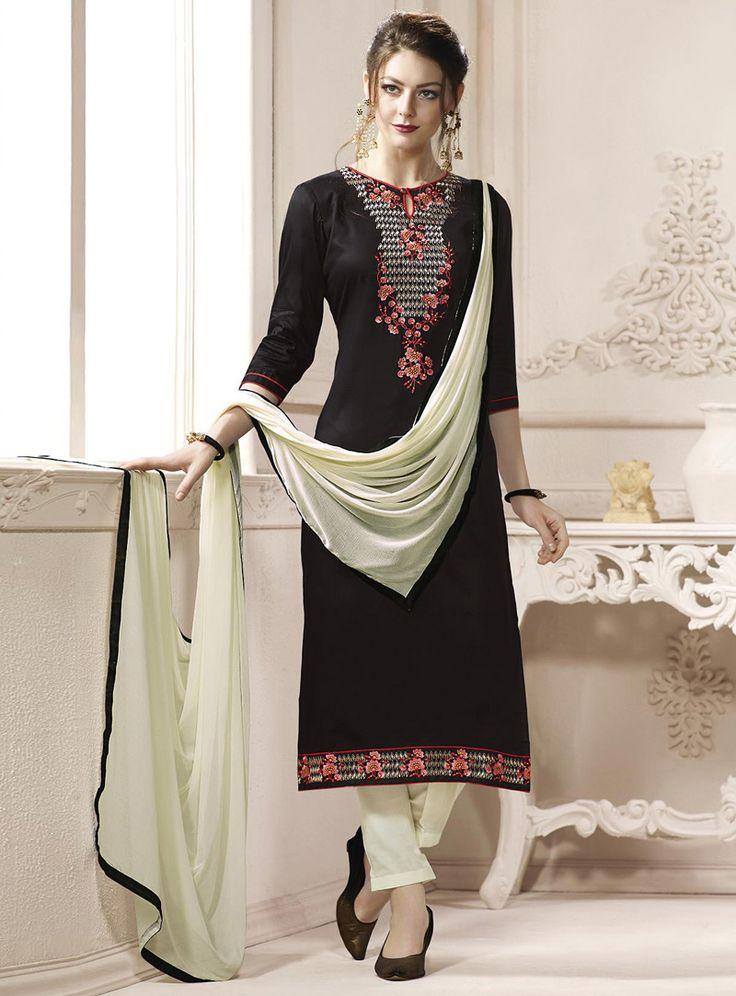 Black Cotton Pakistani Style Suit 114407