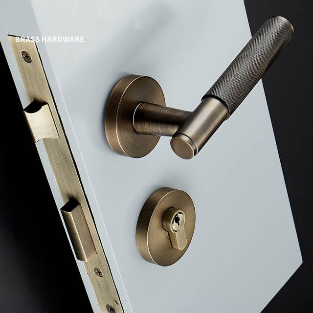 Online Shop 1set Brass Lever Door Handle Knurled Textured Interior Door Handle With Key Lock Brass Mech Door Handles Door Handle With Lock Modern Door Hardware