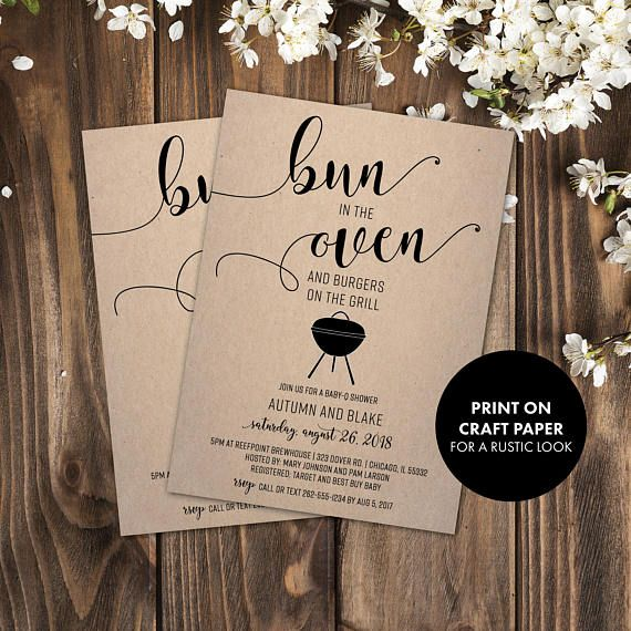 Bun in the Oven Burgers on the Grill | Baby Shower Invitation | Baby-Q Shower | Baby-Q | Baby Q | Baby BBQ | Bun in the Oven Invite  This listing is for a PRINTABLE one-sided Baby Shower invitation for you to print at home or print through a print shop. This card comes as 4x6 or 5x7. *Let me know if you want a different color font, I can change it for you at no additional charge.  Everything is sent through email only for you to print yourself. Nothing will be shipped to you, so no more…