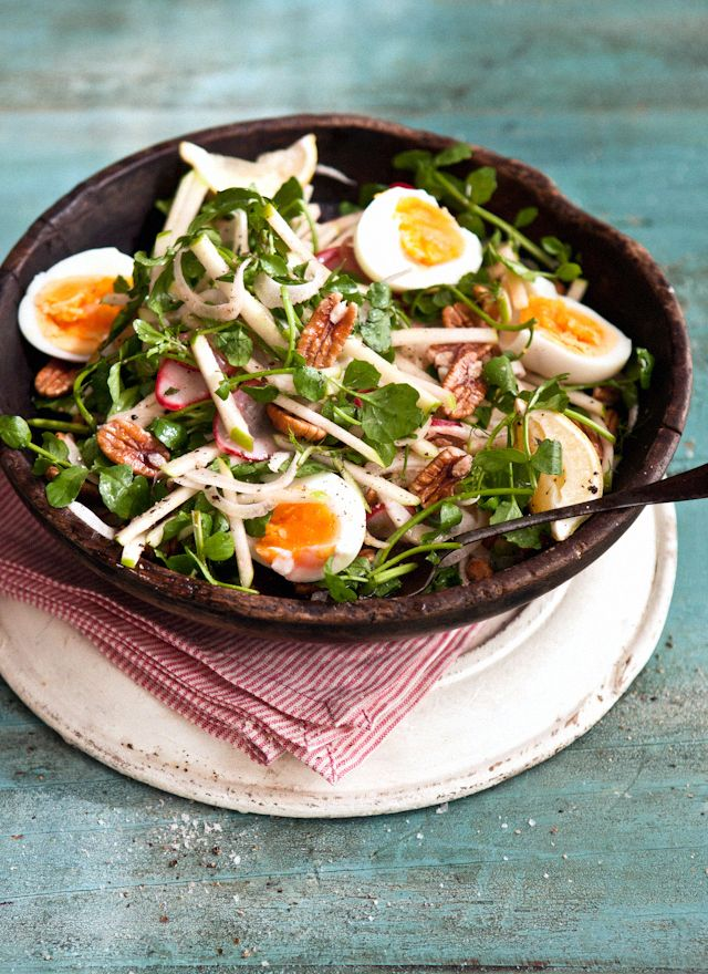 FENNEL, APPLE, RADISH AND WATERCRESS SALAD WITH SOFT BOILED EGG, DIJON VINAIGRETTE DRESSING