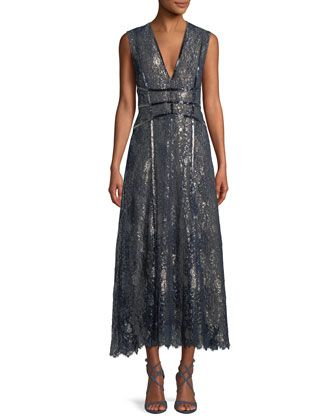 19138001d32 V-Neck+Sleeveless+Metallic+Embroidered+Lace+Cocktail+Dress+by+J.+ ...