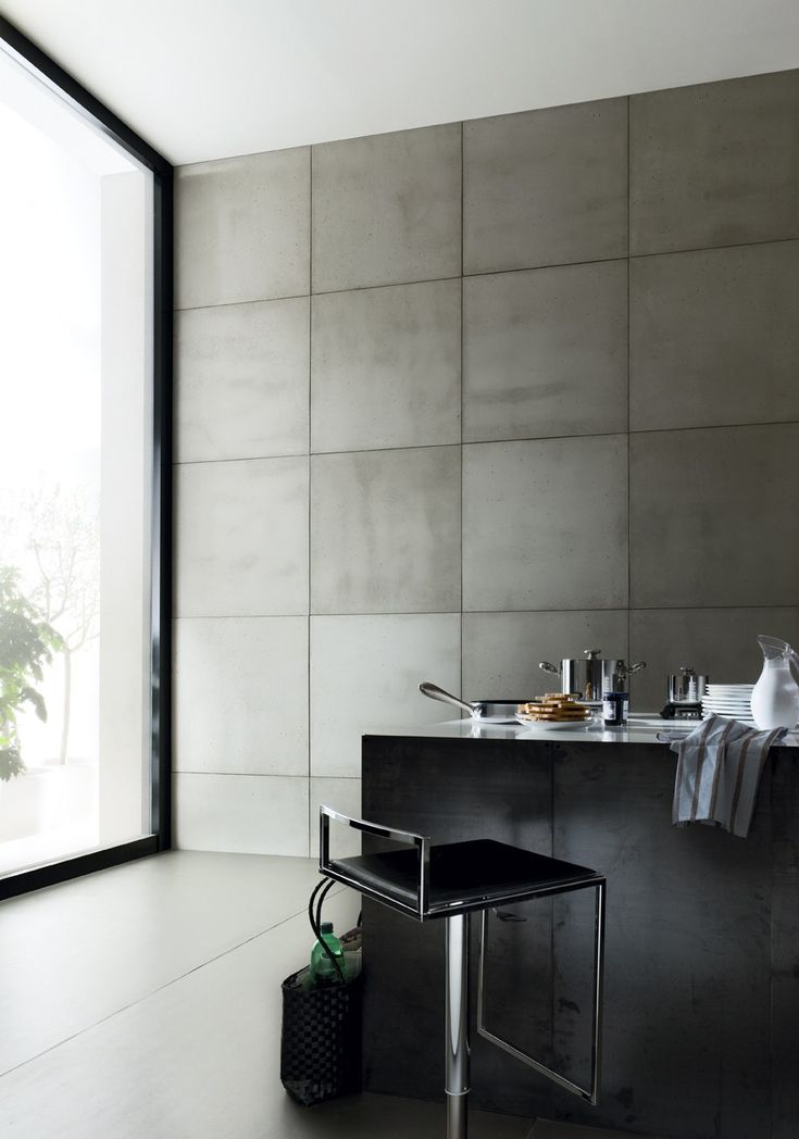 Indoor Smooth Concrete Wall Tiles Cimento Liscio Cement Door Panel By Sai Industry Srl