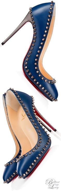 Christian Louboutin Dorispiky Kid/Specchio Navy Studded Pumps