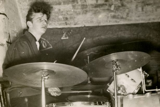 """Pre-Beatles drum duties, 1959: """"This is me playing at the Cavern… these are not my drums. The snare and the sticks would have been mine but I never had a white kit."""""""