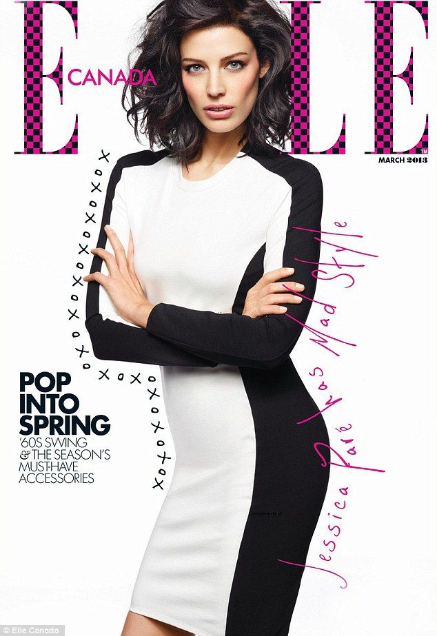 Magnificent in monochrome: Men Mad's Jessica Pare appears on the cover of Elle Canada's March 2013 edition