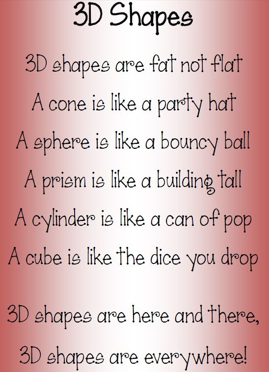 Let's wax lyrical about 3D shapes!