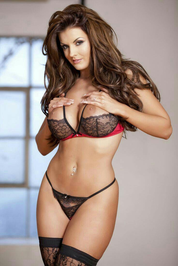 Lingerie busty model brunette