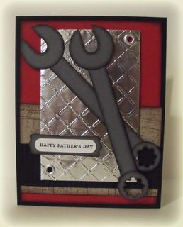 handmade Father's Day card ... huge wrenches ... textured silver metallic paper ... perfect for the amateur/professional fix-it man/woman ...