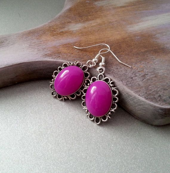 Purple cabochon earrings simple delicate christmas gift idea for her valentines gift package
