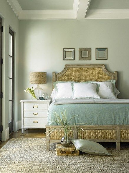 Greens that contain grey are very easy to decorate with. Lovely when partnered with duck egg blue.