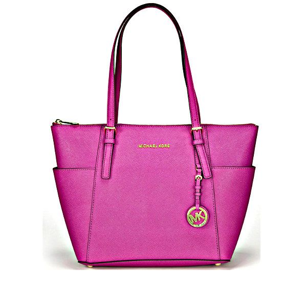 Michael Kors Jet Set East West TZ Tote Fuschia Leather