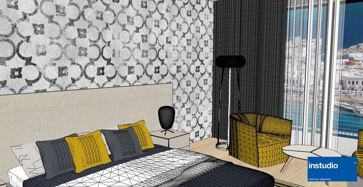 """Ristrutturazione delle camere per Hotel vista mare. Le immagini rappresentano la camera """"tipo"""" declinata poi nelle versioni con più posti letto."""
