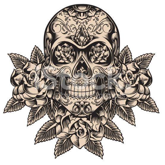 Detailed skull illustration cliparts vectoriels libres de droits